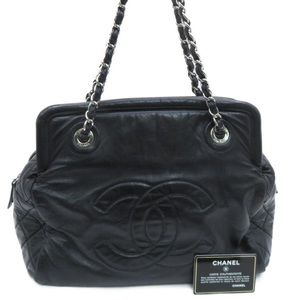 Auth Chanel CC Shoulder Bag Calfskin Leather